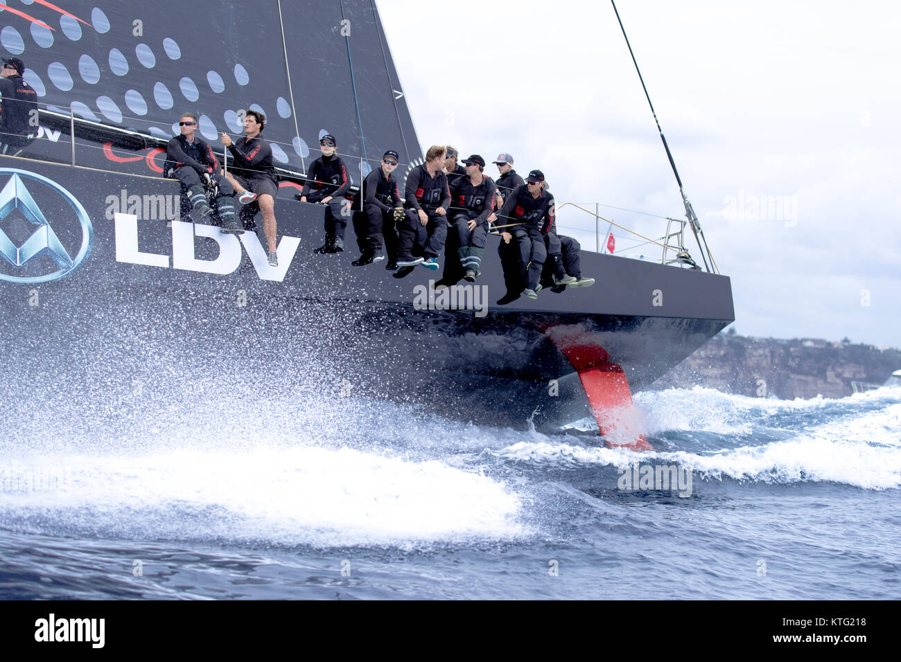 Sydney, Australia. 26th December 2017. Rolex Sydney to Hobart Yacht Race 2017. Crew with eyes front on LDV Comanche. - Stock Image