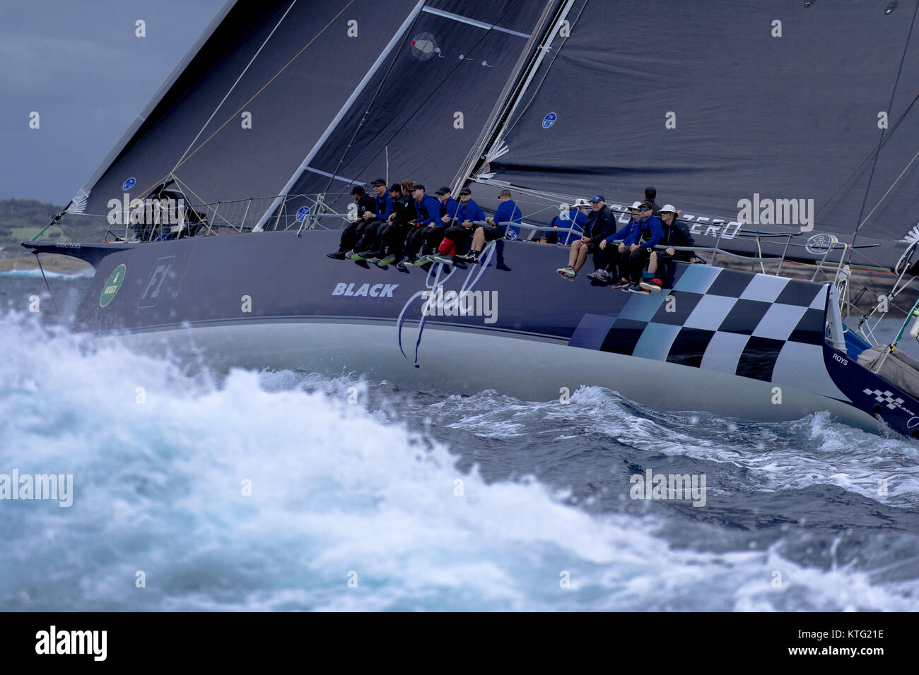 Sydney, Australia. 26th December 2017. Rolex Sydney to Hobart Yacht Race 2017. Black Jack was first out of the heads. - Stock Image