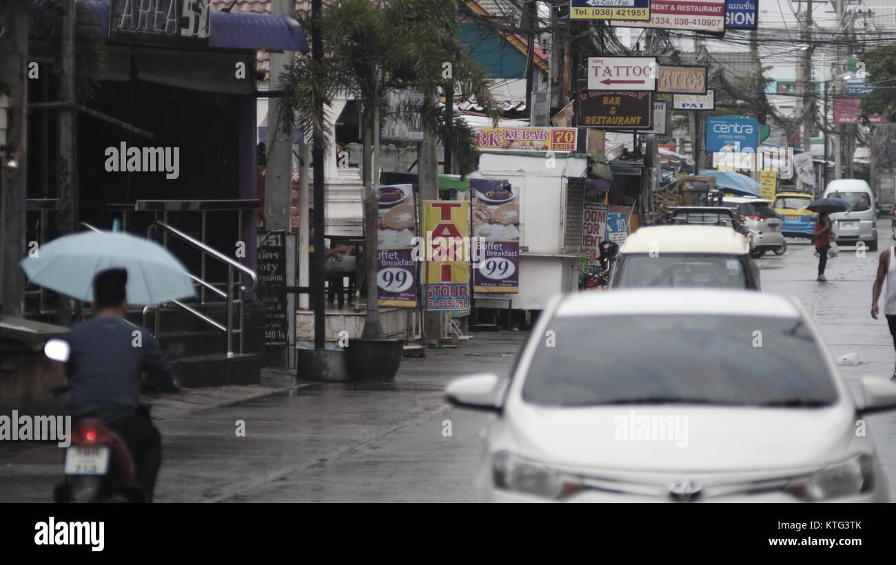 Pattaya Thailand Most Dangerous Intersection Soi Buakhao, Soi Diana and Soi Lengkee the New Tourist Area Rain DayGloomy Stock Photo