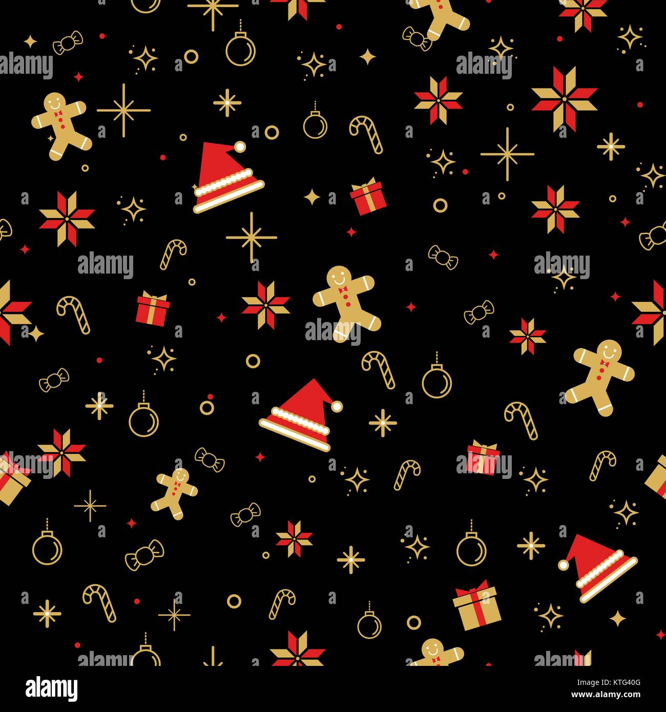 Seamless background image of Christmas decorating item pattern in black. - Stock Vector