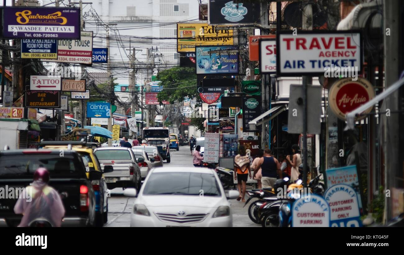 Pattaya Thailand Most Dangerous Intersection Soi Buakhao, Soi Diana and Soi Lengkee the New Tourist Area Rain DayGloomy Stock Photo