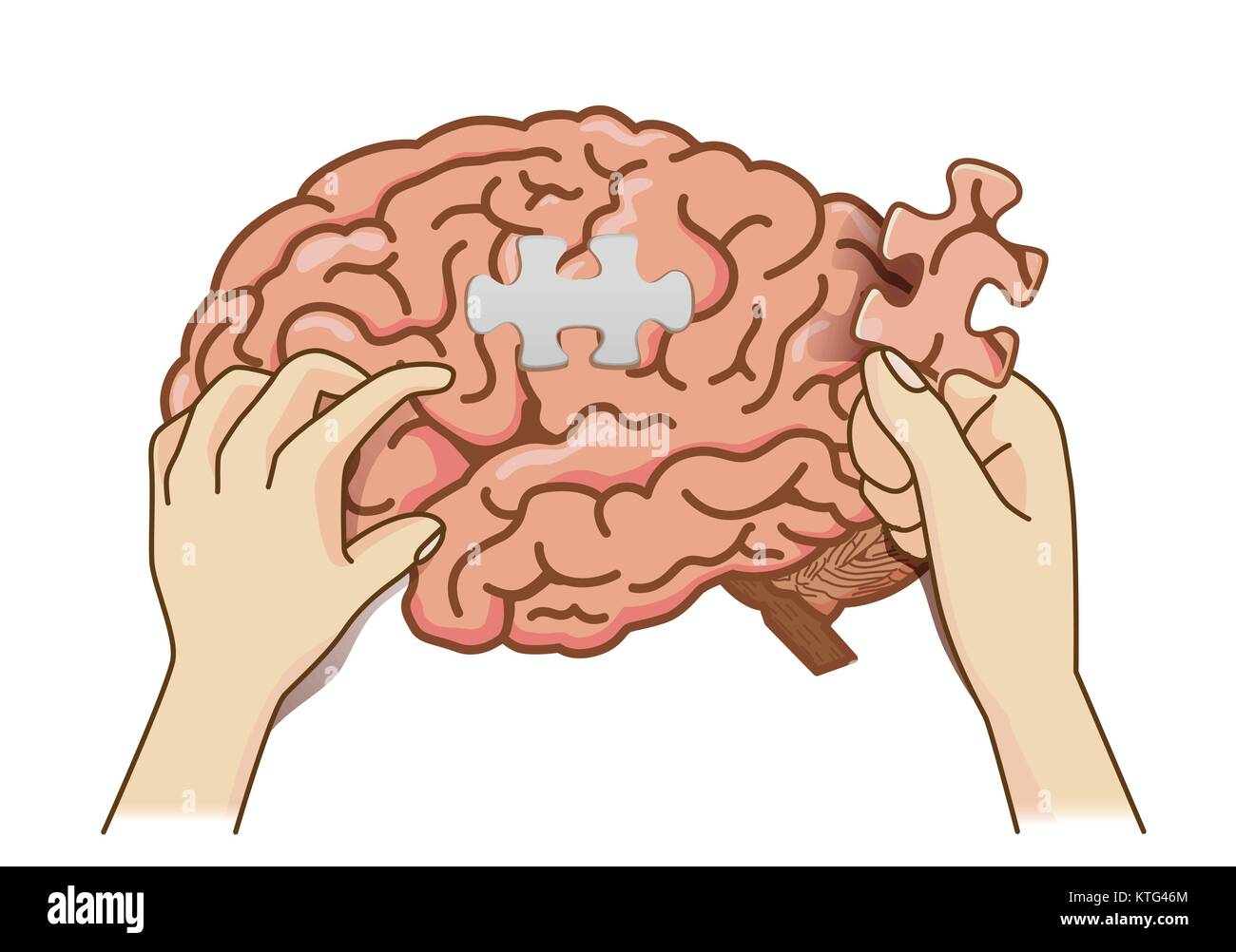 Hand Paste The Last Piece To Complete The Brain Puzzle Jigsaw Stock