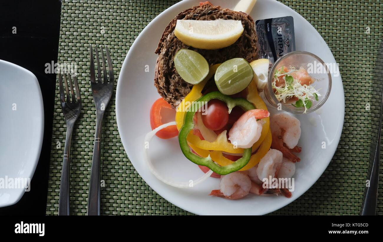 Fine Hotel Dining at Beautiful Gourmet Flow Restaurant Millennium Hilton with a Chao Phraya River View  Bangkok Stock Photo