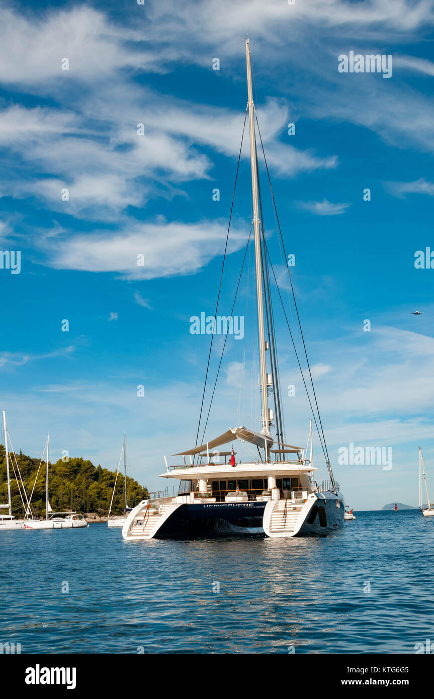 Hemisphere Yacht in Cavtat Harbour - Stock Image