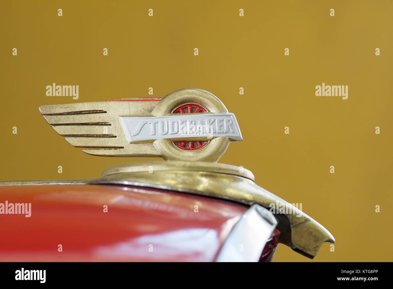 Classic Car detail of badge - Studebaker - Stock Image
