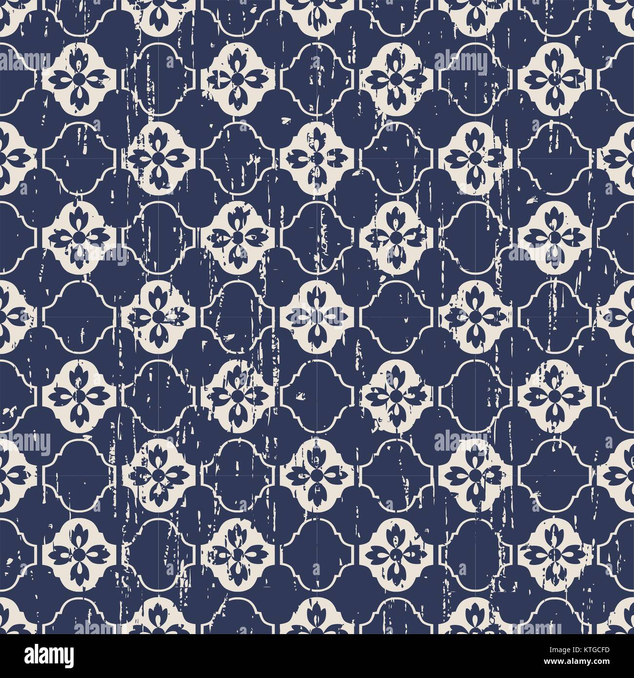 Seamless vintage worn out flower pattern background - Stock Vector