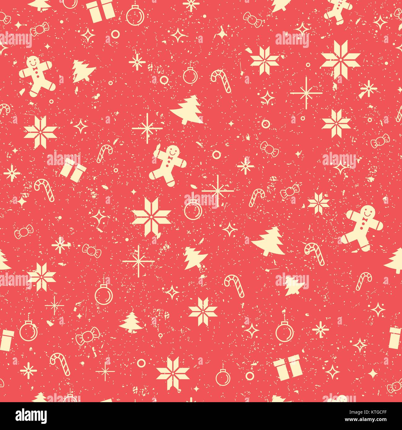 Seamless worn out Christmas decorating items background - Stock Vector
