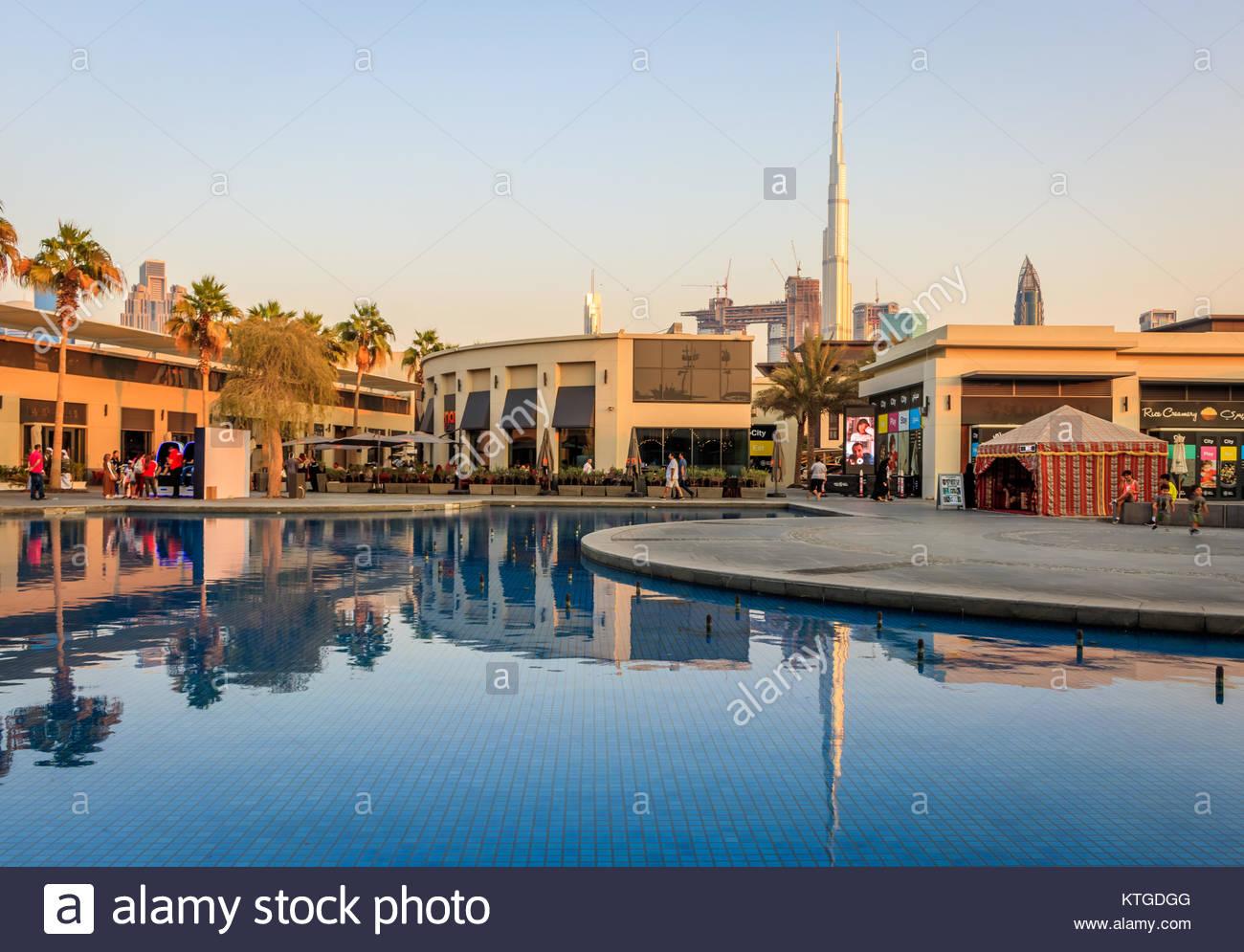 View of City Walk Dubai and Burj Khalifa in Old Dubai. Stock Photo