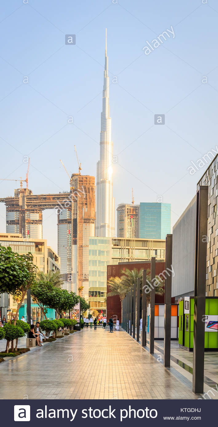 View of City Walk Dubai and Burj Khalifa in Old Dubai. Stock Photo