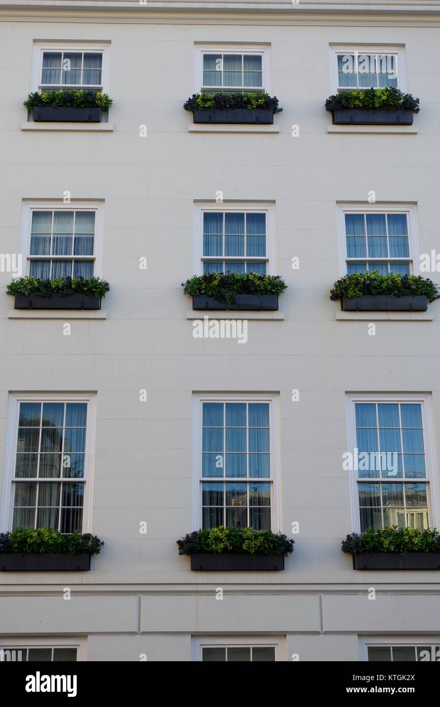 Window Cream Wall Front of London Luxury Town House Property. UK, December 2017. - Stock Image