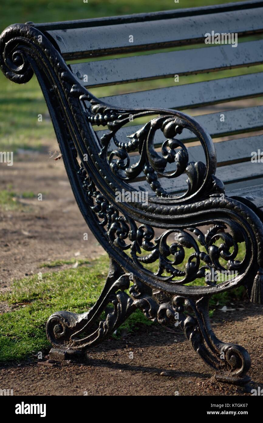 Ornate Traditional Cast Iron Bench End In Hyde Park London Uk