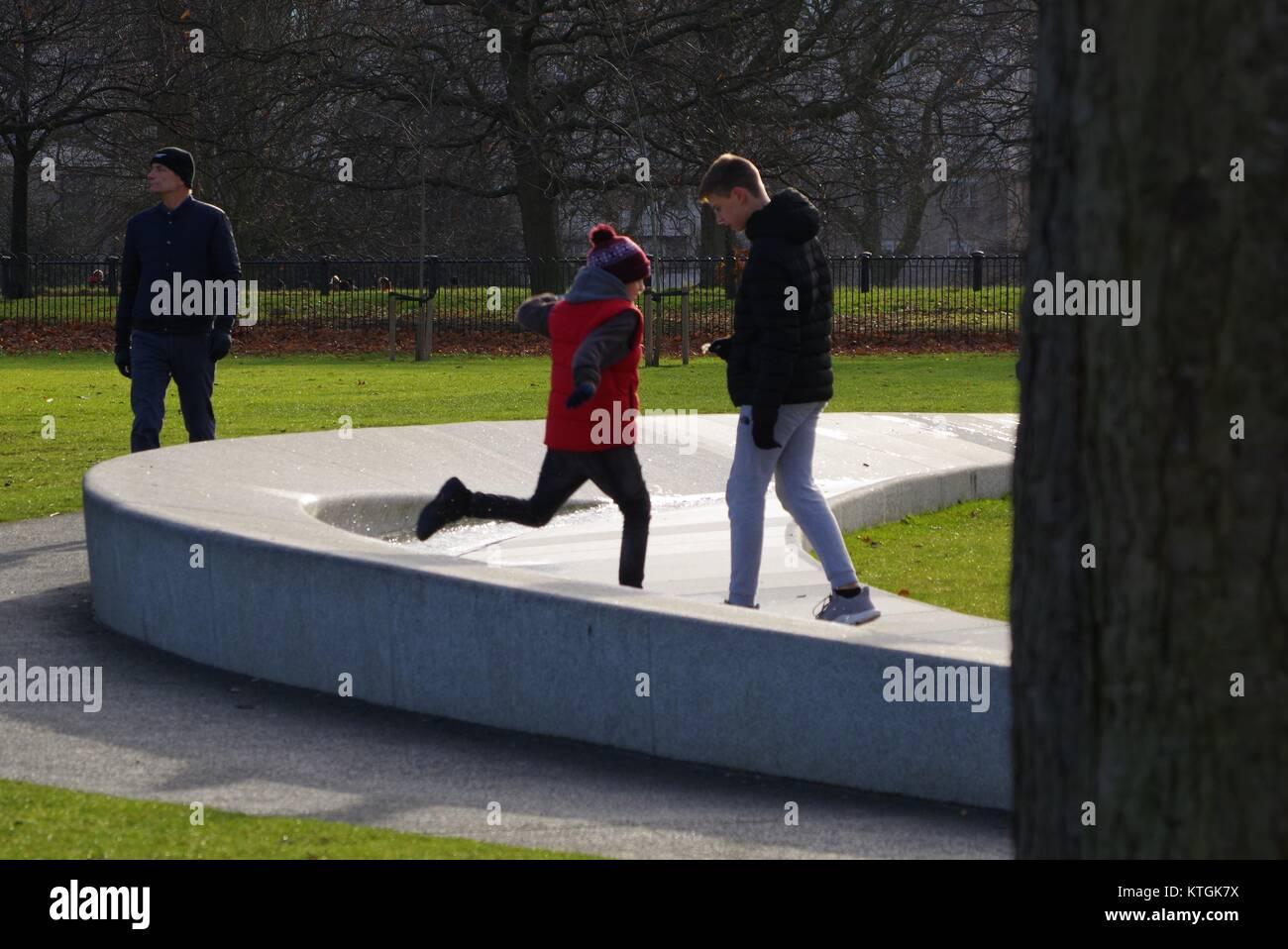 Princess Diana Memorial Fountain, Hyde Park, London, UK. December 2017. - Stock Image