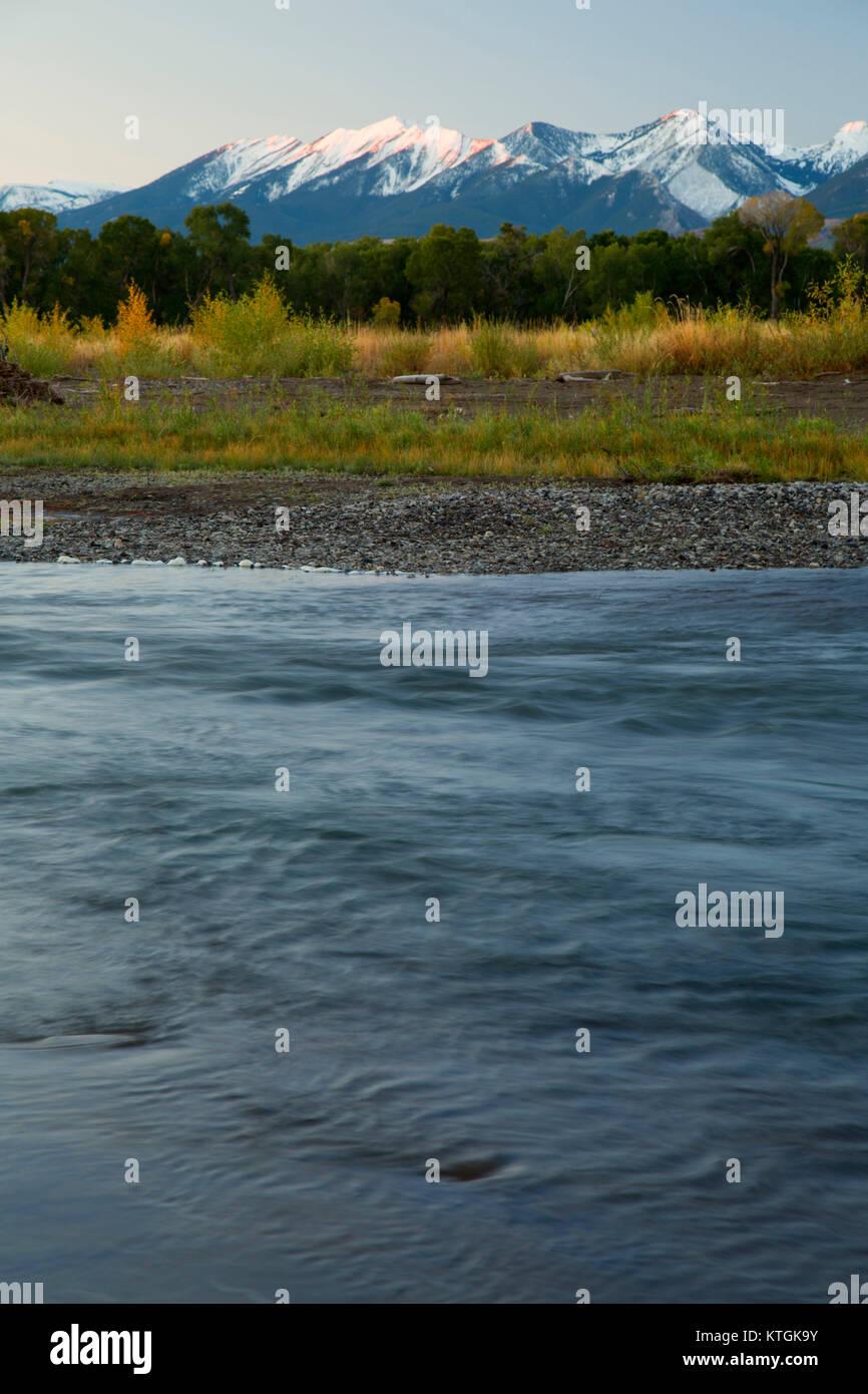 Yellowstone River, Sheep Mountain Fishing Access Site, Park County, Montana - Stock Image
