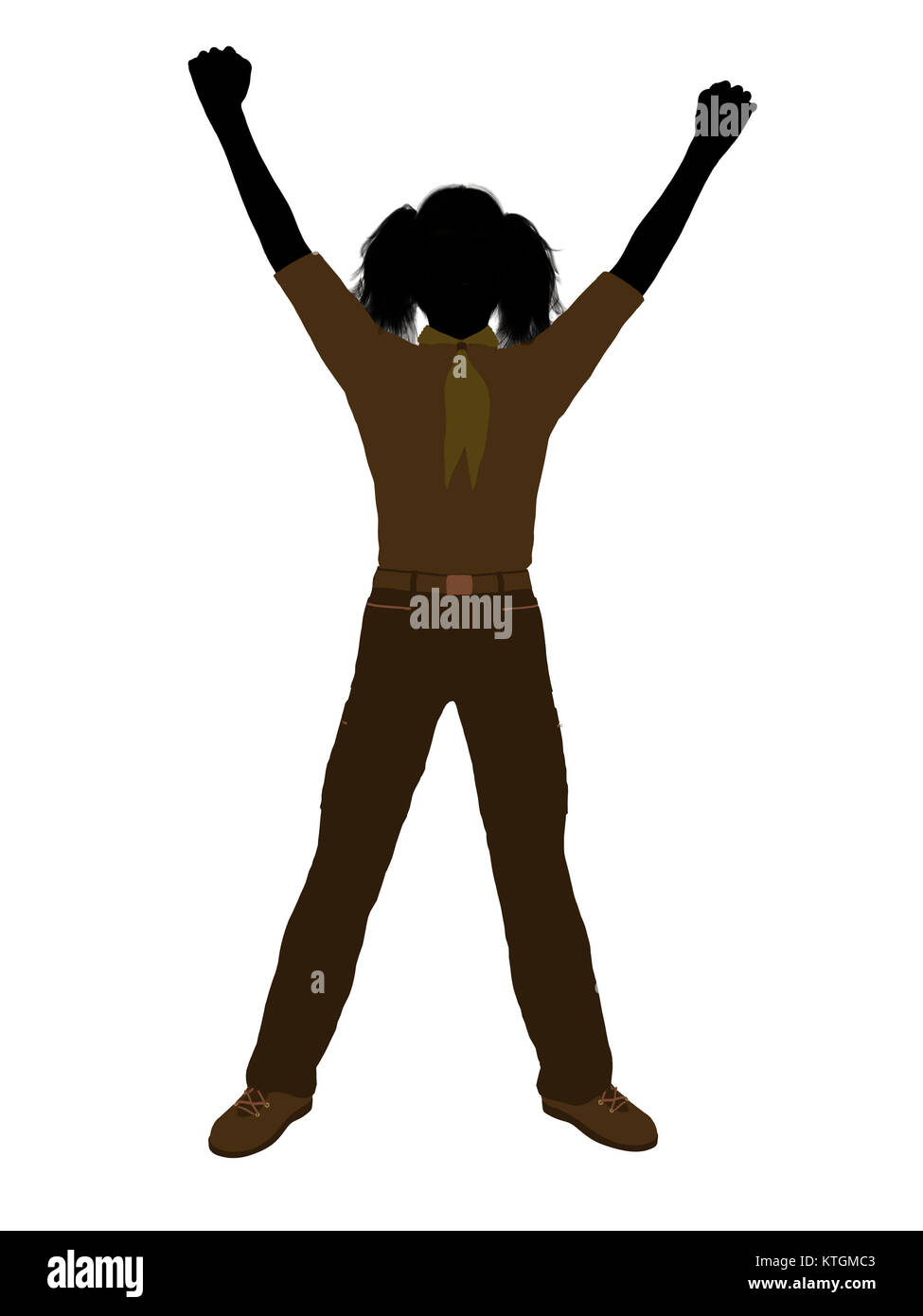 Girl scout silhouette dressed in pants on a white background - Stock Image
