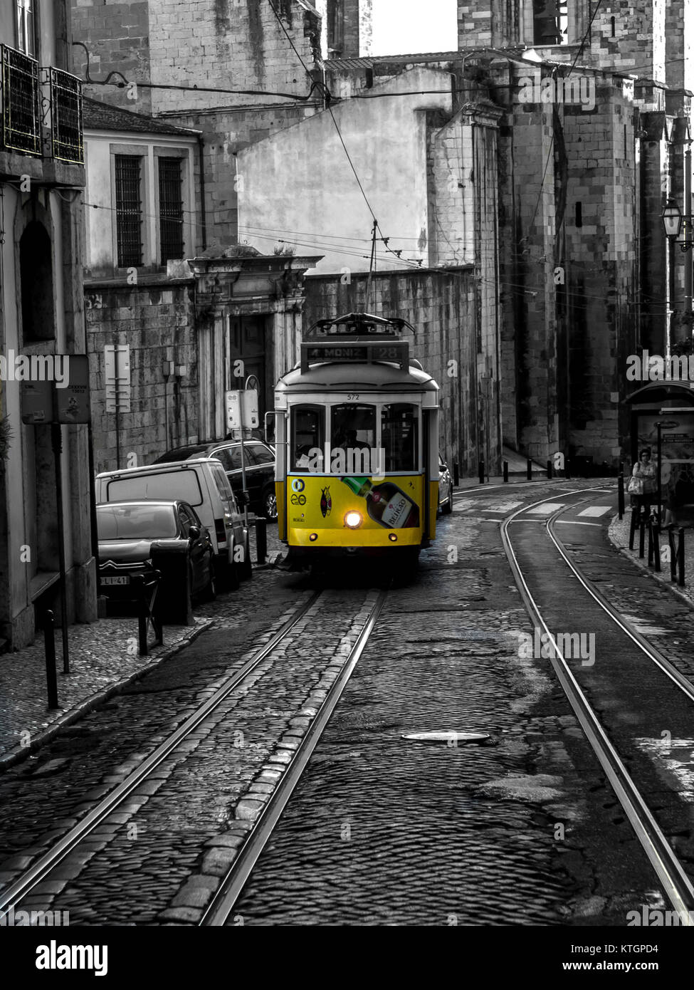 The iconic Tram No. 28 in Lisbon Portugal - Stock Image