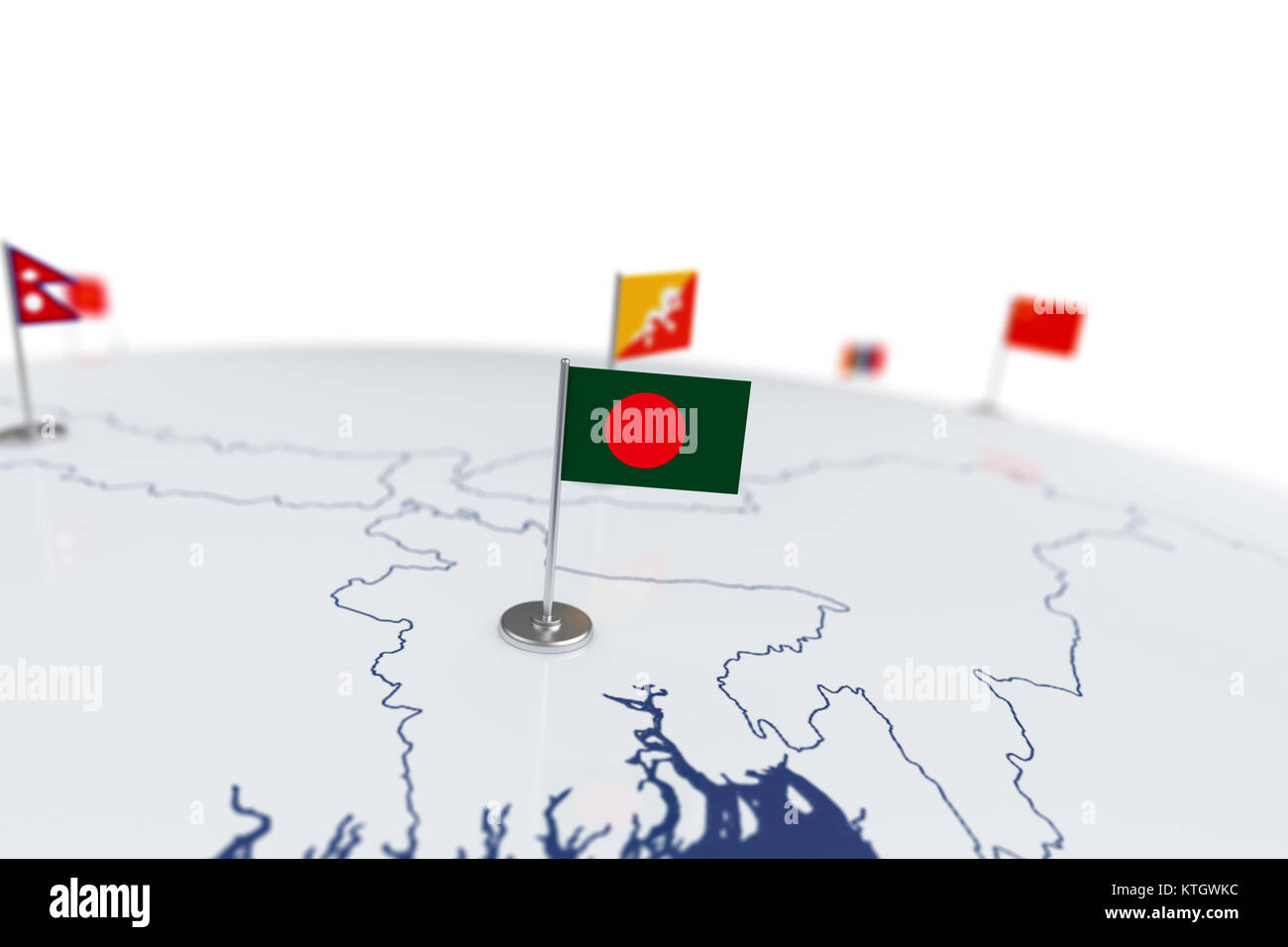 Bangladesh flag country flag with chrome flagpole on the world map bangladesh flag country flag with chrome flagpole on the world map with neighbors countries borders 3d illustration rendering gumiabroncs Gallery