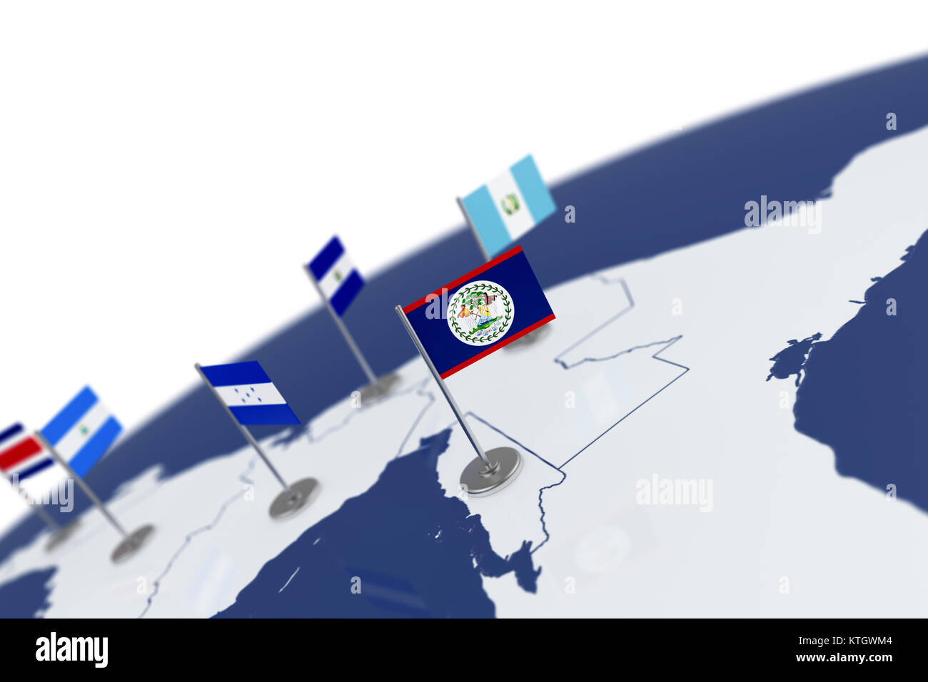 Belize Flag Country Flag With Chrome Flagpole On The World Map With