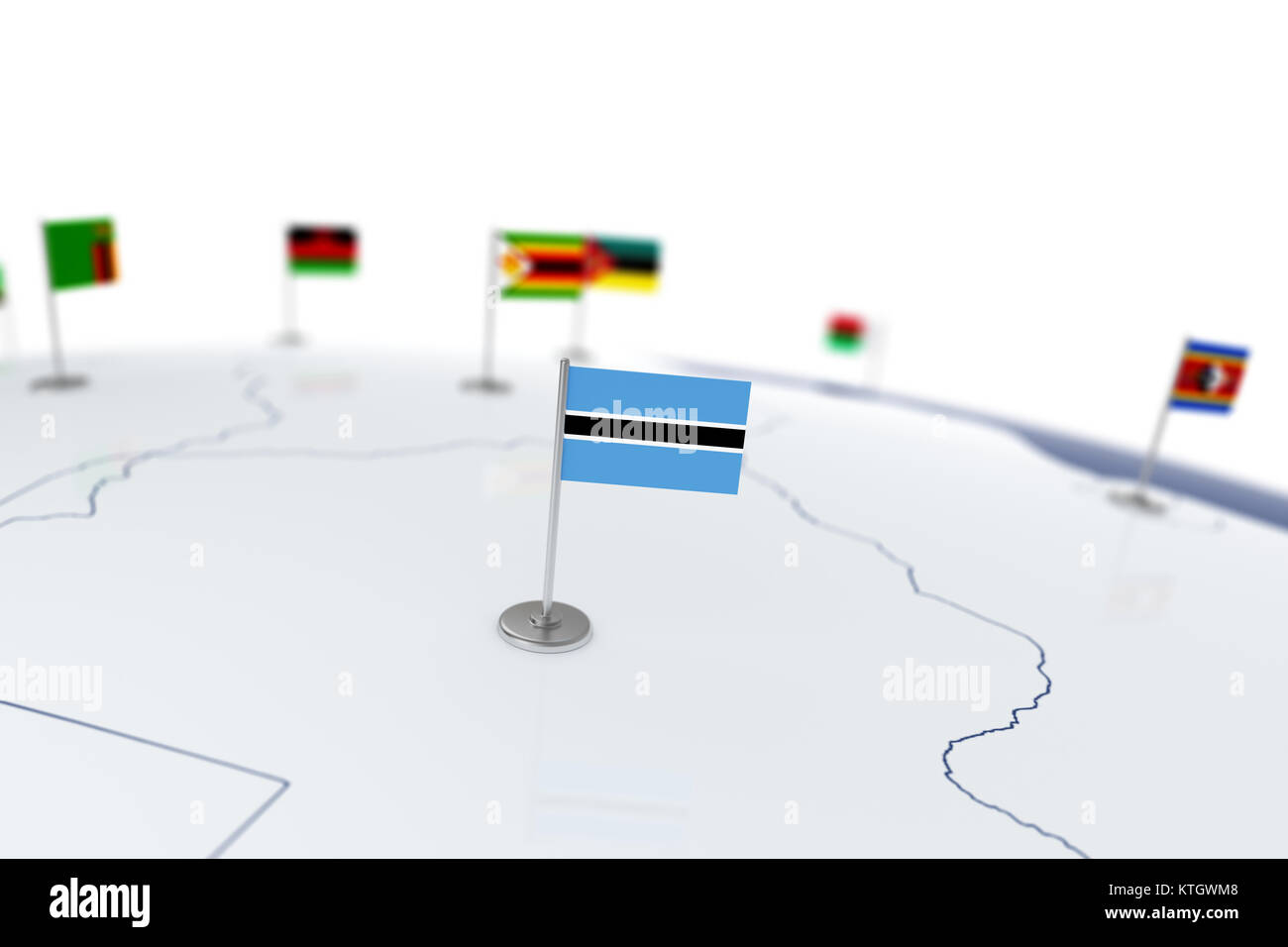 Botswana flag country flag with chrome flagpole on the world map botswana flag country flag with chrome flagpole on the world map with neighbors countries borders 3d illustration rendering gumiabroncs Image collections