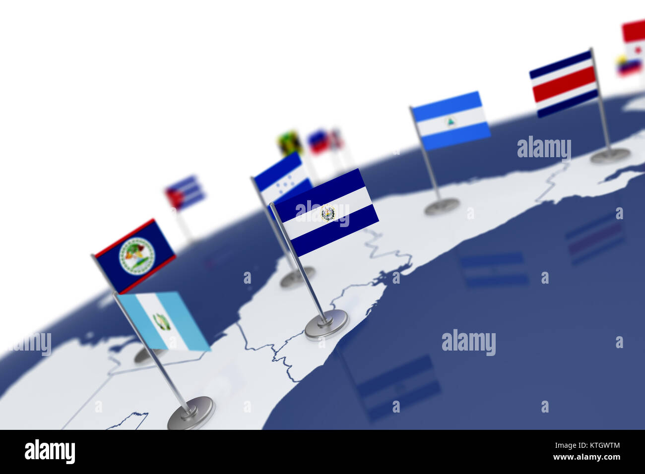 El salvador flag country flag with chrome flagpole on the world map el salvador flag country flag with chrome flagpole on the world map with neighbors countries borders 3d illustration rendering gumiabroncs Gallery