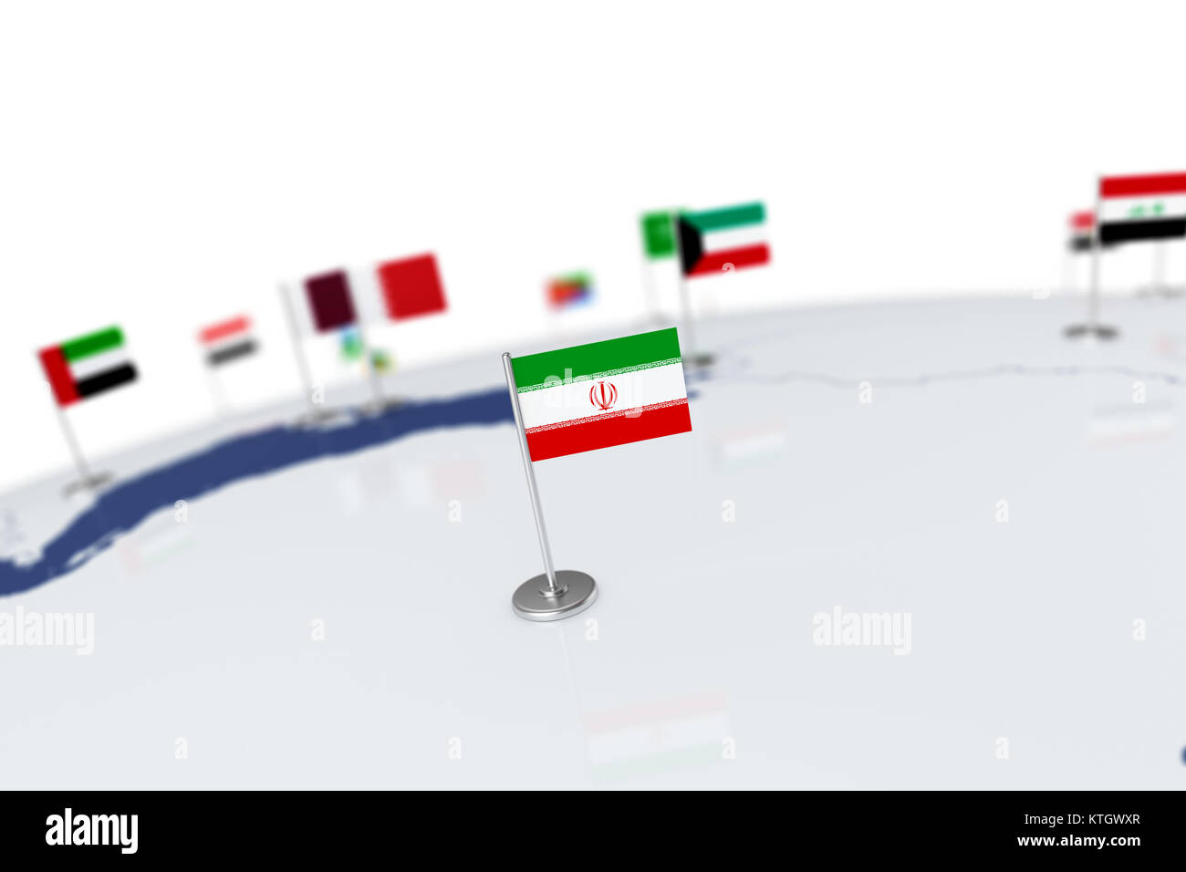 Iran flag country flag with chrome flagpole on the world map with iran flag country flag with chrome flagpole on the world map with neighbors countries borders 3d illustration rendering gumiabroncs Image collections