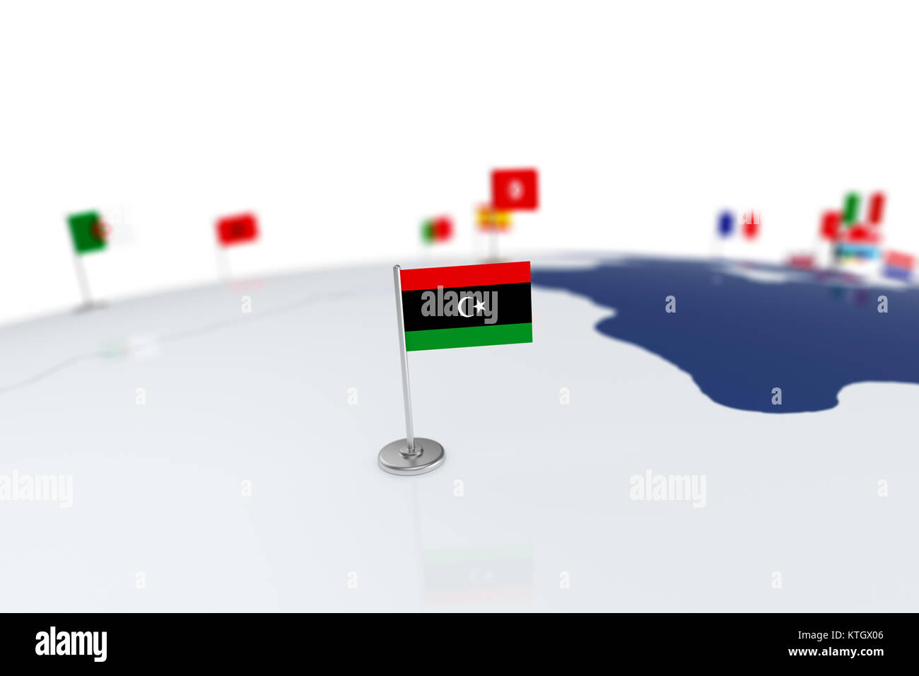Libya flag country flag with chrome flagpole on the world map with libya flag country flag with chrome flagpole on the world map with neighbors countries borders 3d illustration rendering gumiabroncs Gallery
