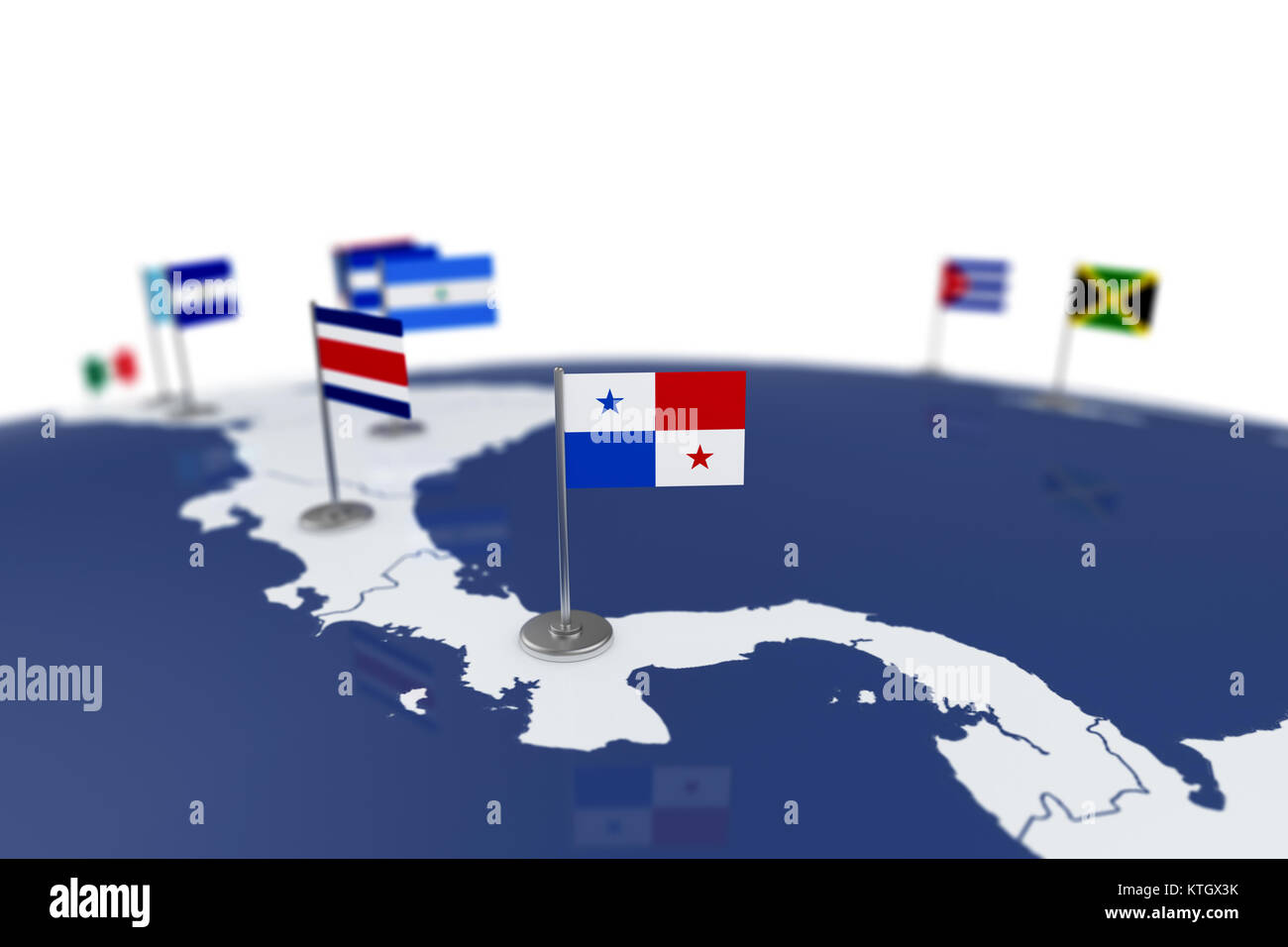 Panama flag. Country flag with chrome flagpole on the world map with ...
