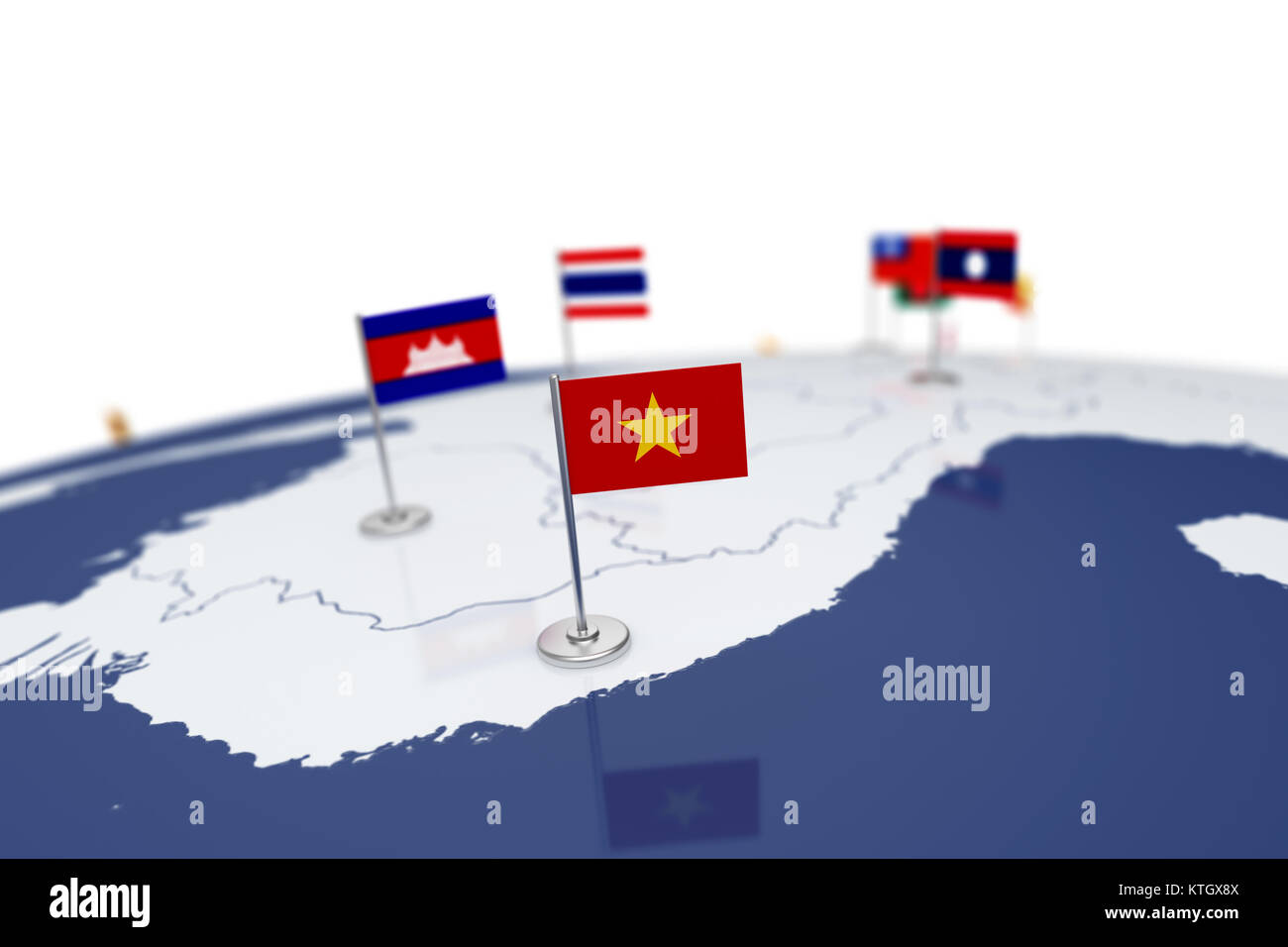 Vietnam flag. Country flag with chrome flagpole on the world ...
