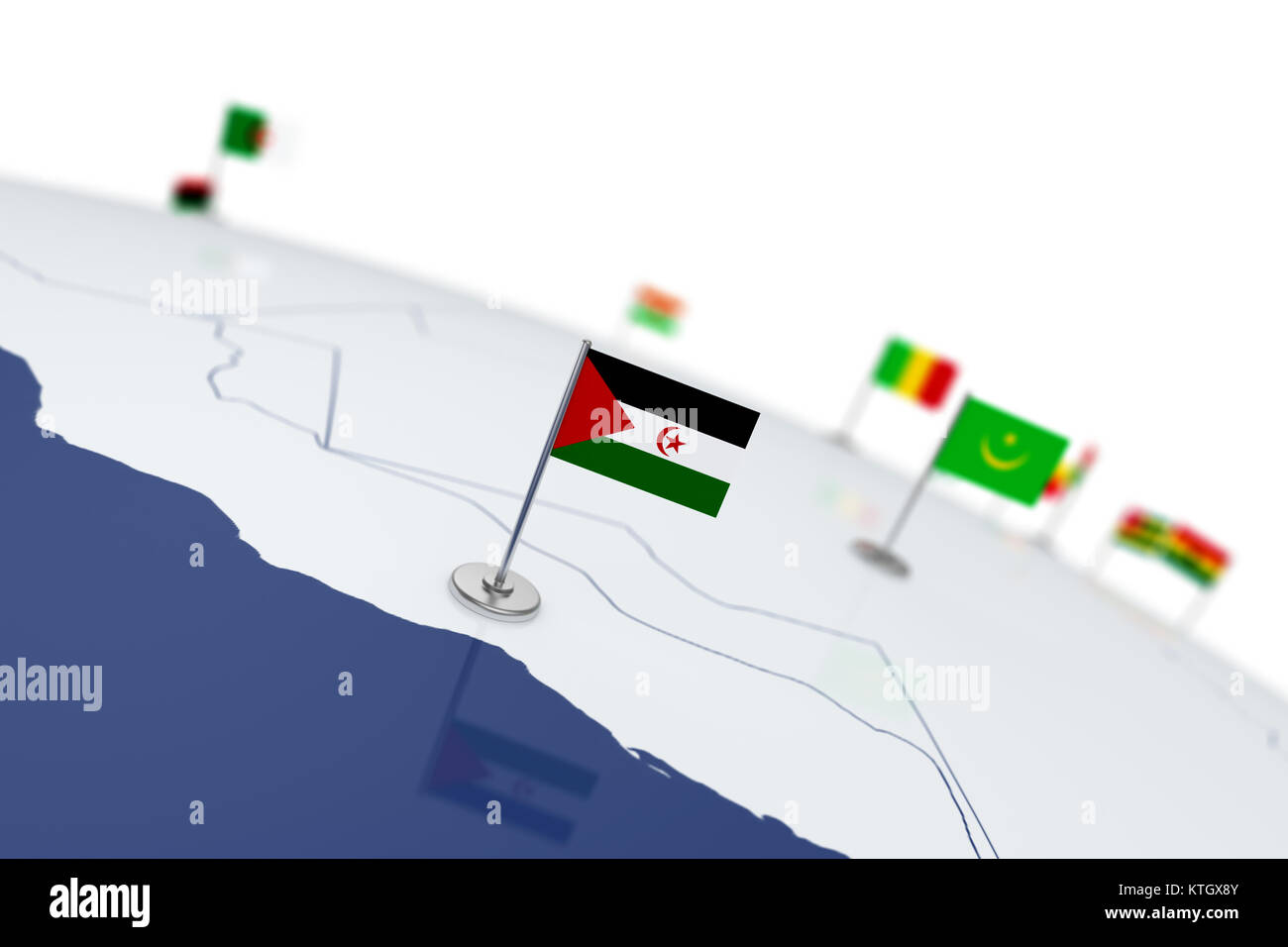 Western Sahara flag. Country flag with chrome flagpole on the world map with neighbors countries borders. 3d illustration - Stock Image