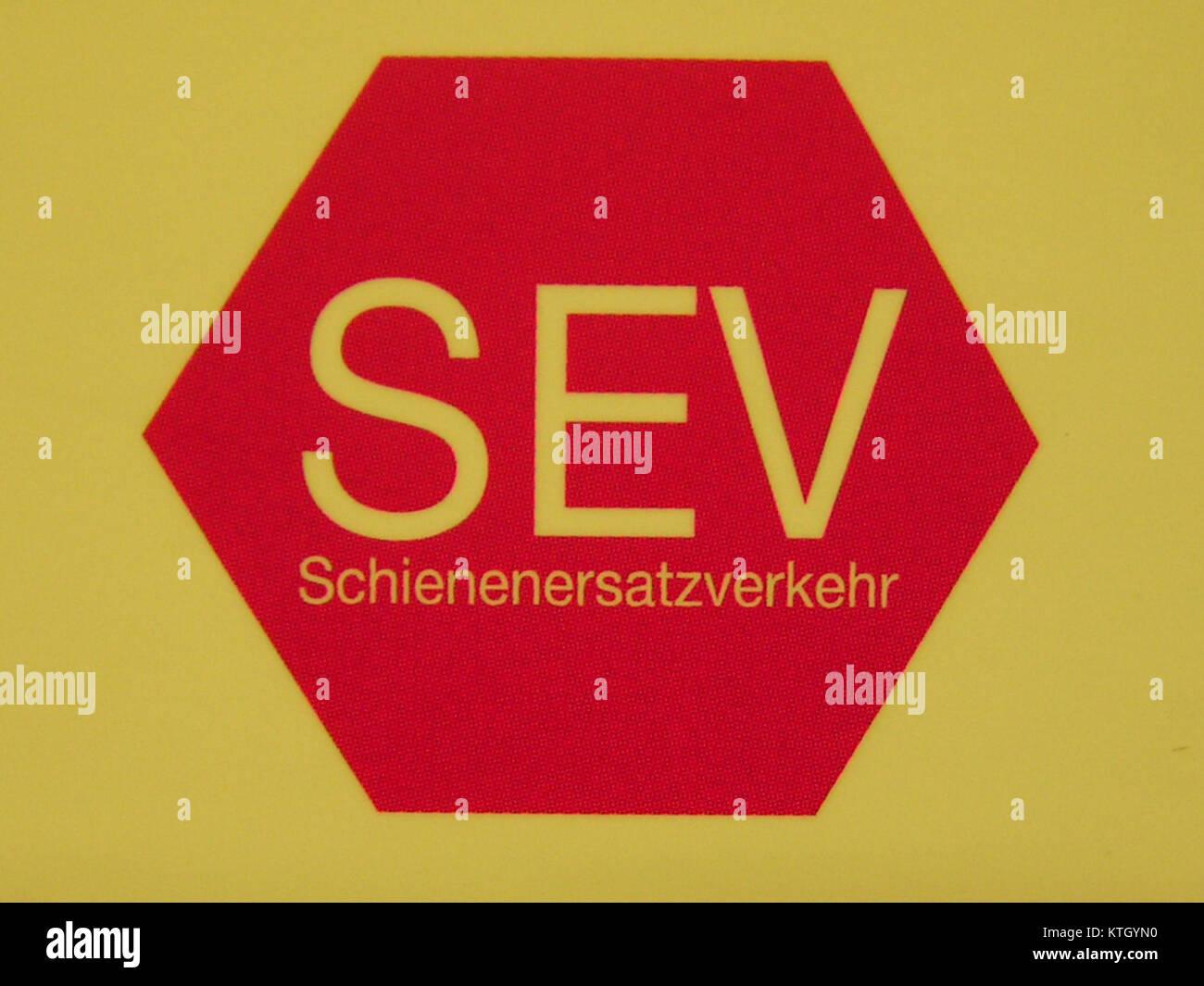 DB Schienenersatzverkehr rot Stock Photo