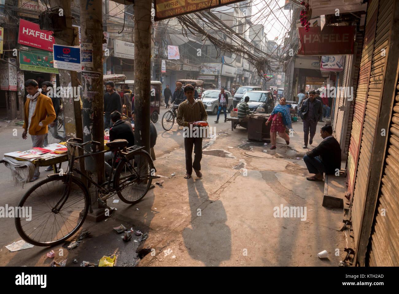 Old Delhi street scene, New Delhi, India - Stock Image