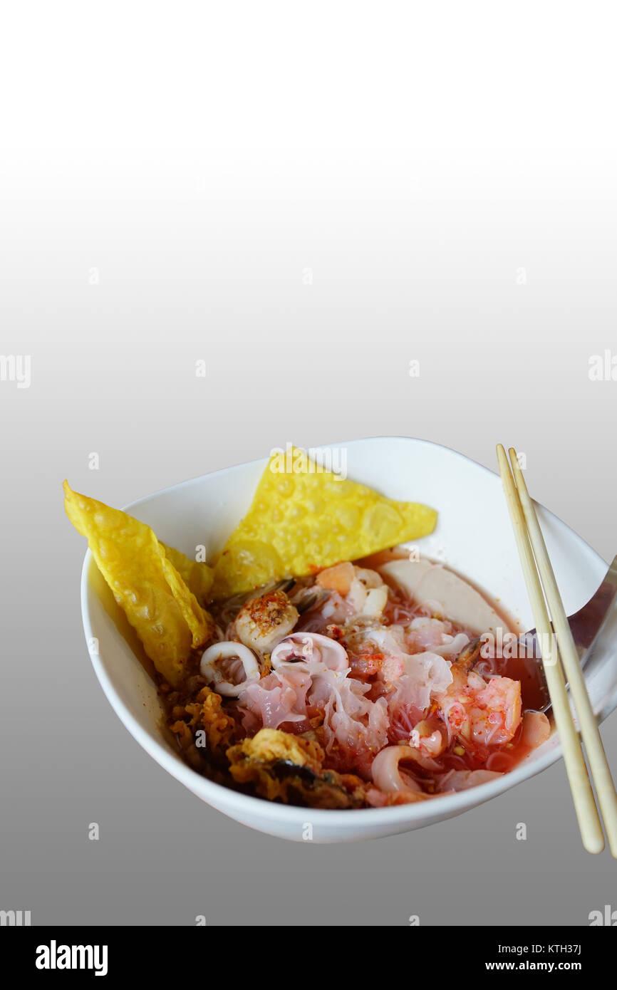 Yong tau foo or yong tao foo or yentafo is delicious Hakka Chinese noodle - Stock Image