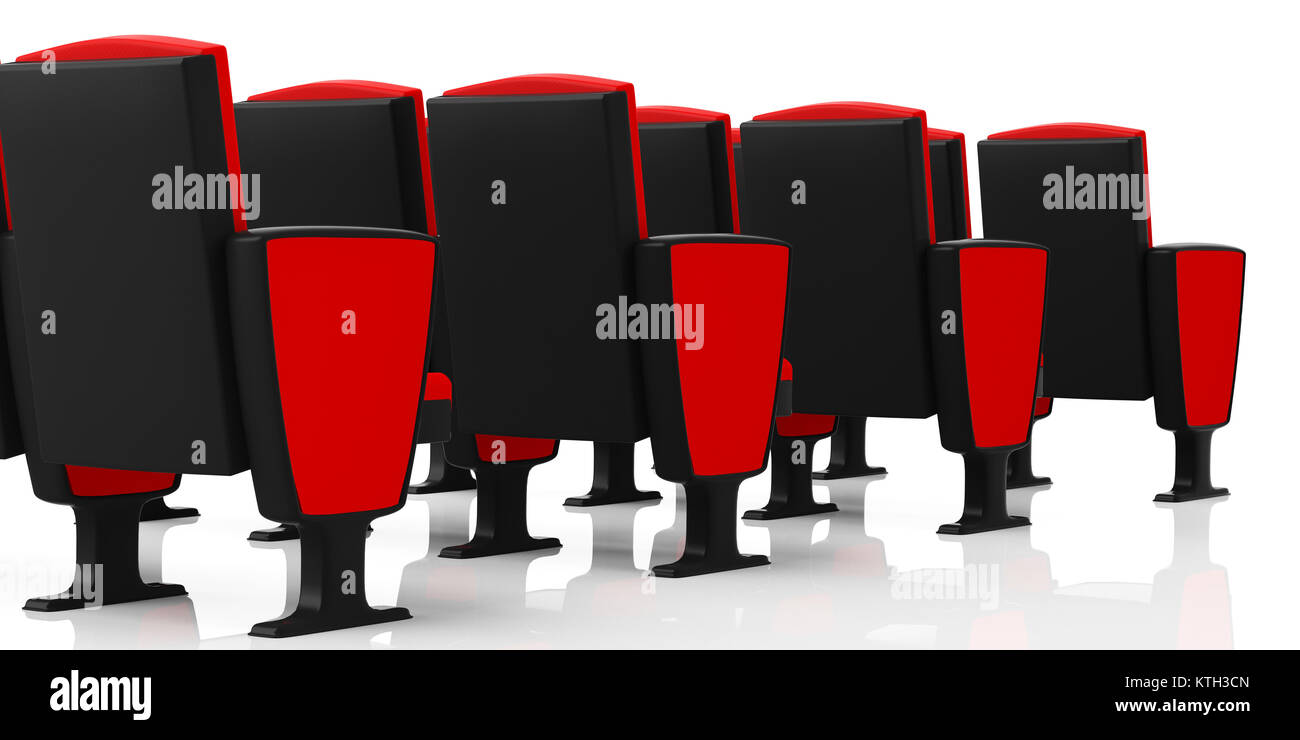 red theater chairs. Red Theater Chairs On White Background, View From Behind. 3d Illustration E