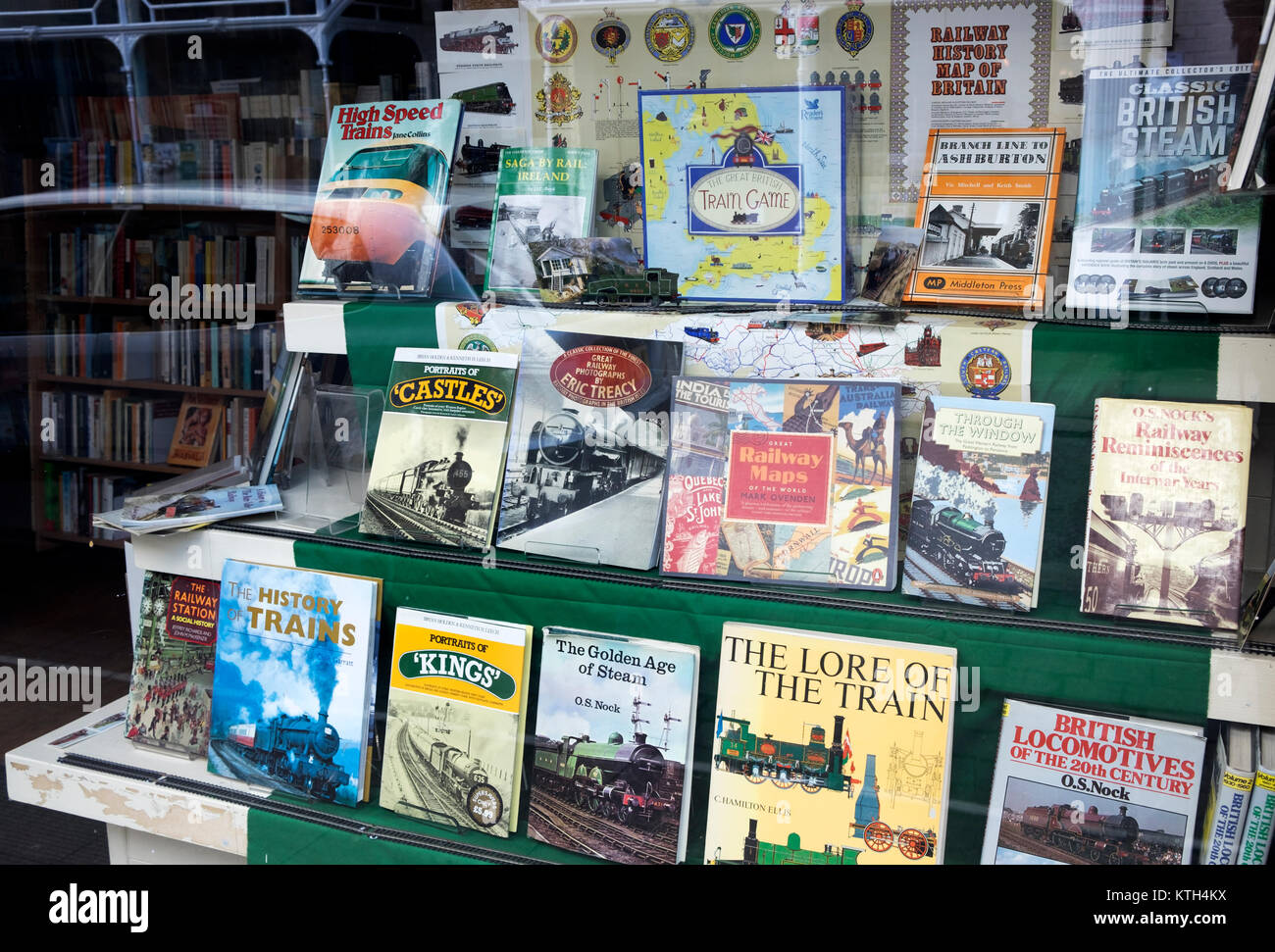 Oxfam secondhand book shop displaying railway themed publications - Stock Image