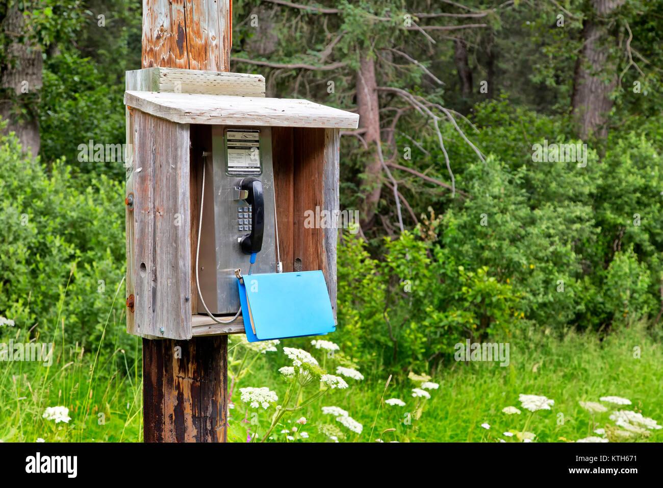 Public Payphone located on Richardson Highway. - Stock Image