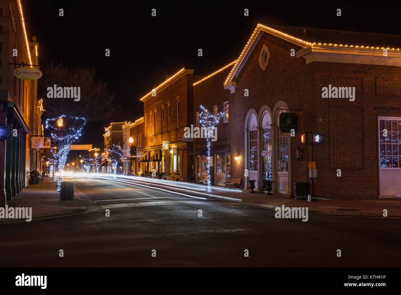 Christmas lights, Downtown Manassas, Virginia - Stock Image