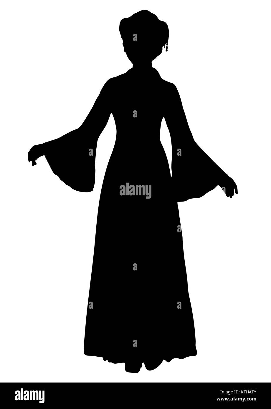 eac59425f Girl in Chinese national costume silhouette, vector outline portrait, black  and white contour drawing. Asian woman full-length in a hanfu, in a  traditional ...