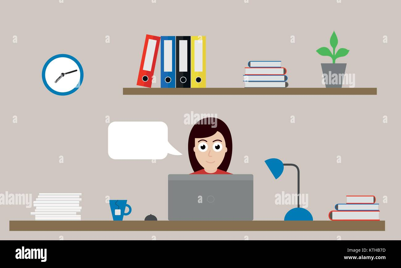 Vector illustration of office with clock, folders and flower on shelf and woman sitting at desk with laptop, mouse, - Stock Vector