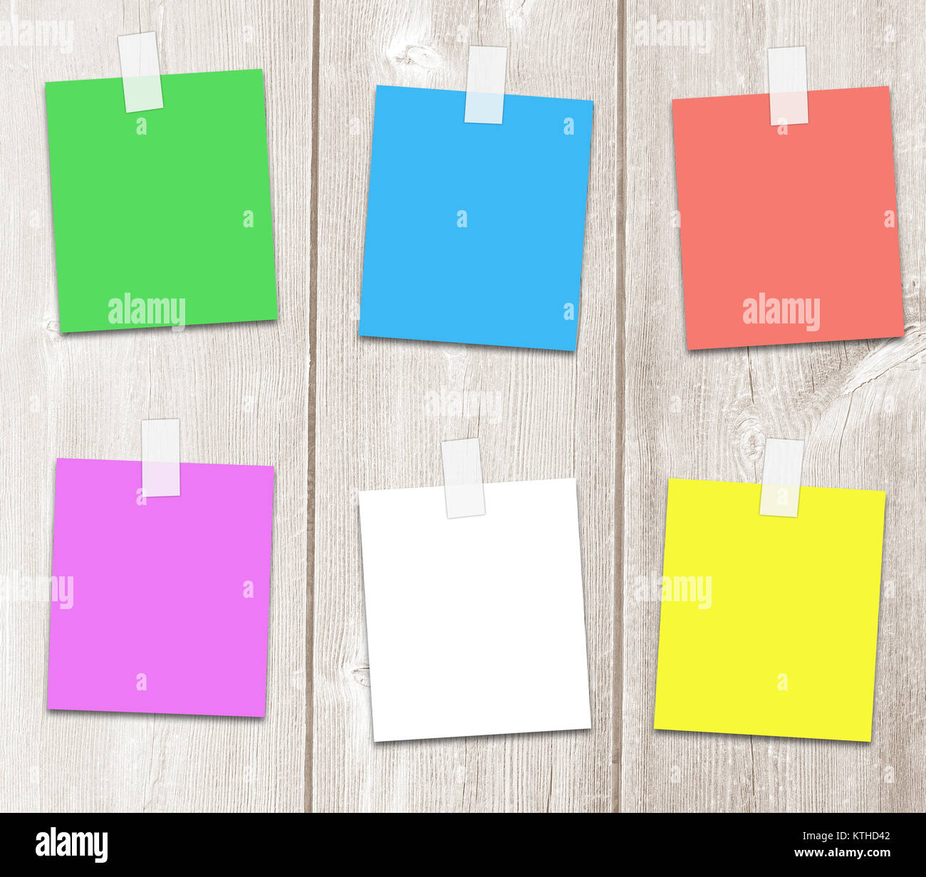 Colored paper sheets for an adhesive tape with copy space for text, notes, and reminders. - Stock Image