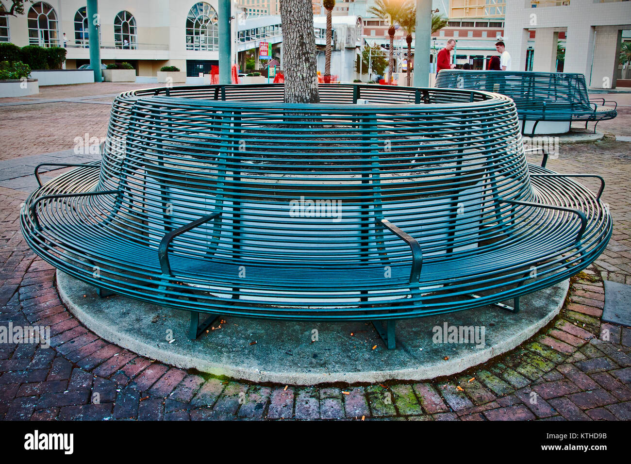 Ornate metal round bench, Waterfront, New Orleans, Louisiana, USA,  North America - Stock Image