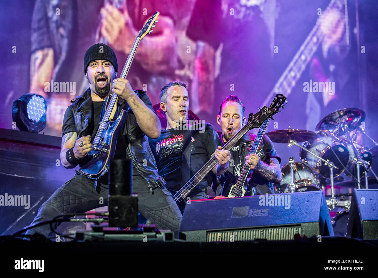 The Danish hard rock band Volbeat performs a live concert at