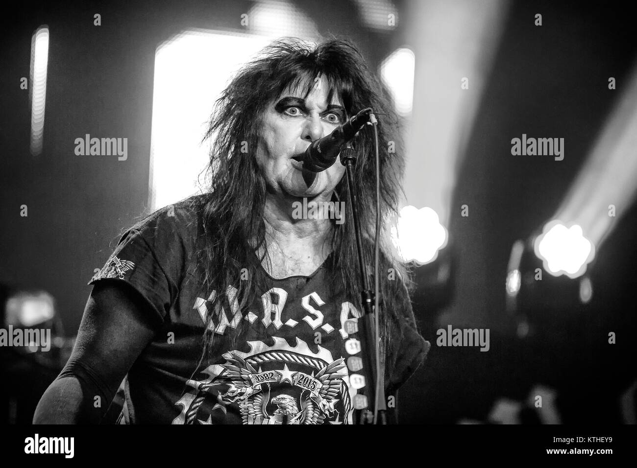 The American glam metal band W.A.S.P. performs a live concert at Union Scene in Oslo. Here the band's last remaining - Stock Image