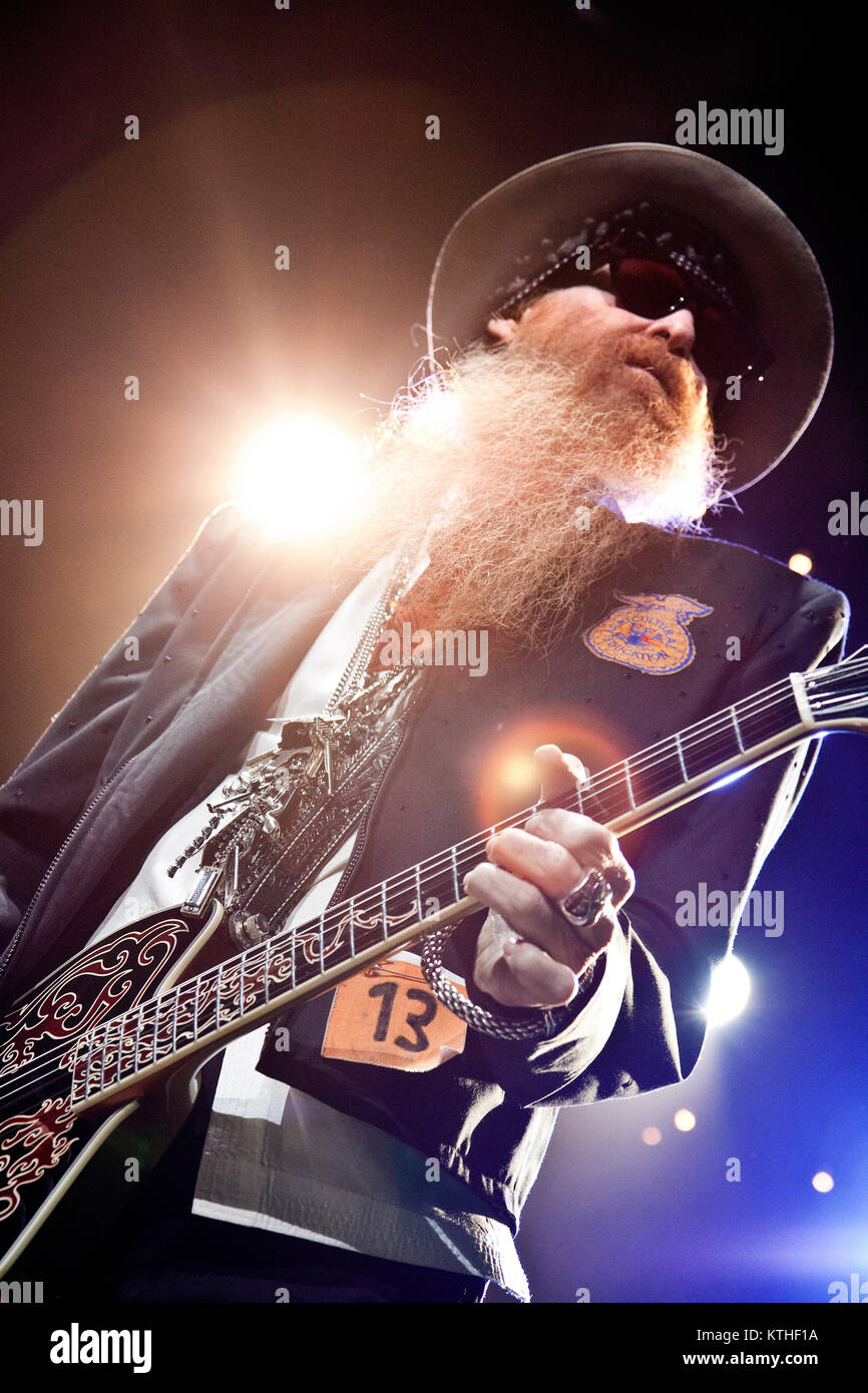 The American rock band ZZ Top performs a live concert at the Oslo Spektrum. The trio consists of Billy Gibbons, Stock Photo