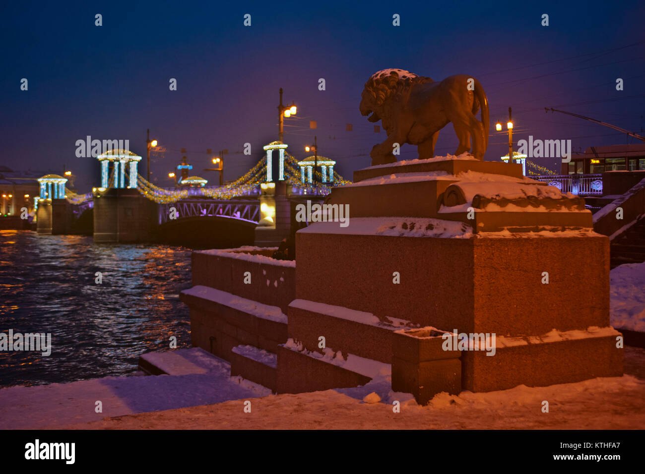 Festive New Year's illumination in St. Petersburg, Russia - Stock Image