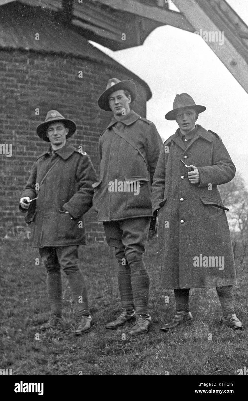 Three New Zealand soldiers from World War One pose for the camera. Location and date unknown. - Stock Image