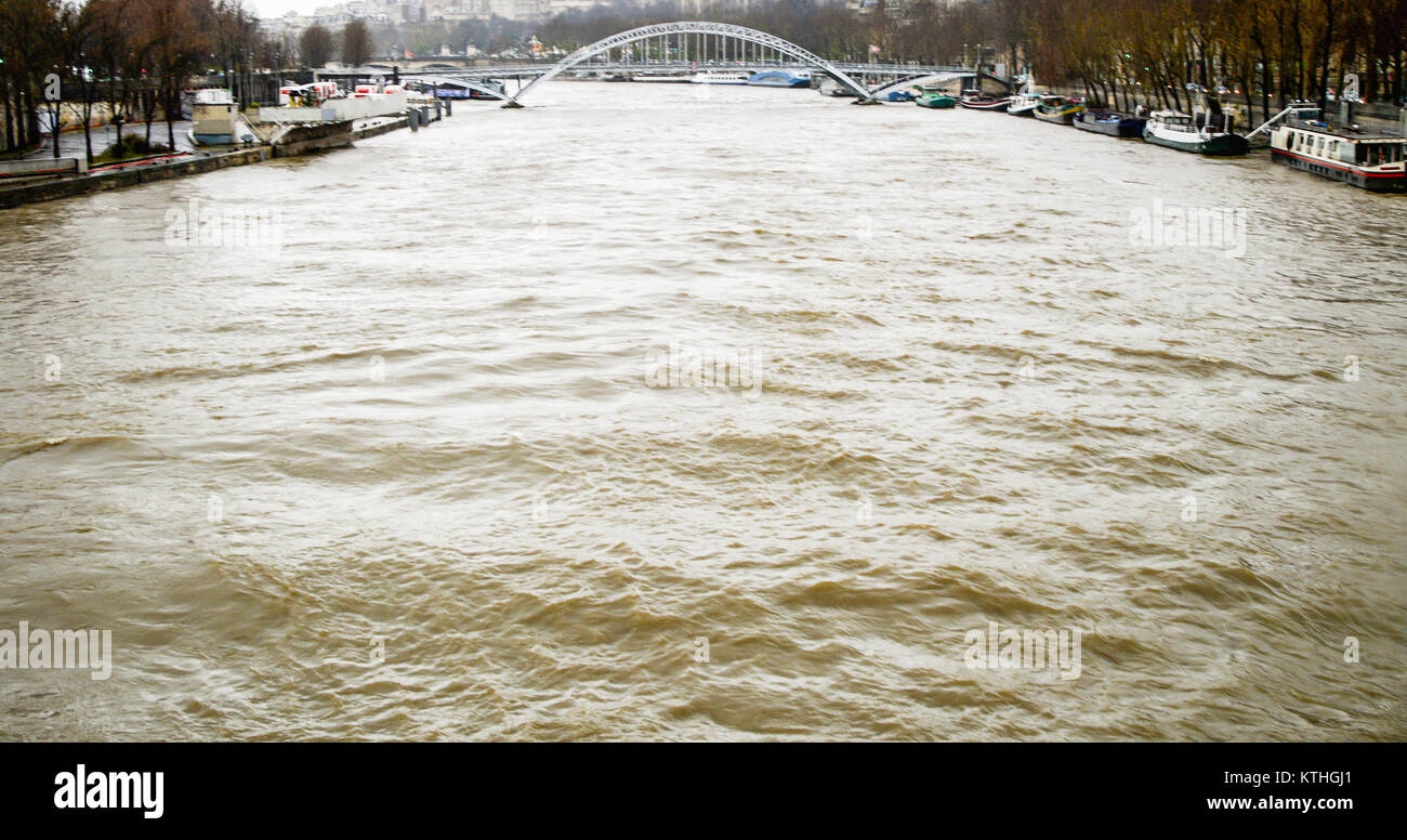 The European metropolis of Paris during the great floods. - Stock Image