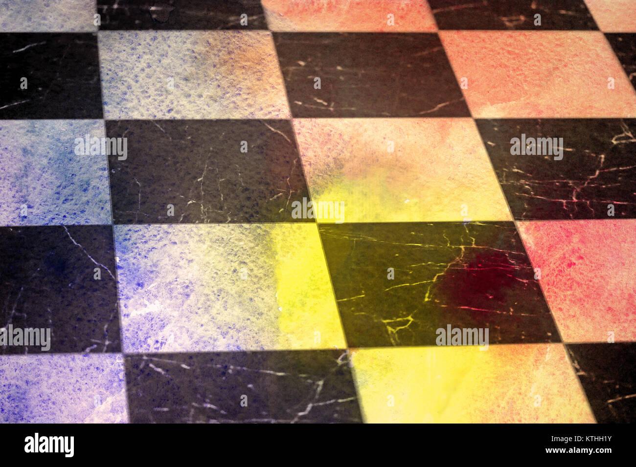 Black White Checkered Floor Tiles Stock Photos Black White
