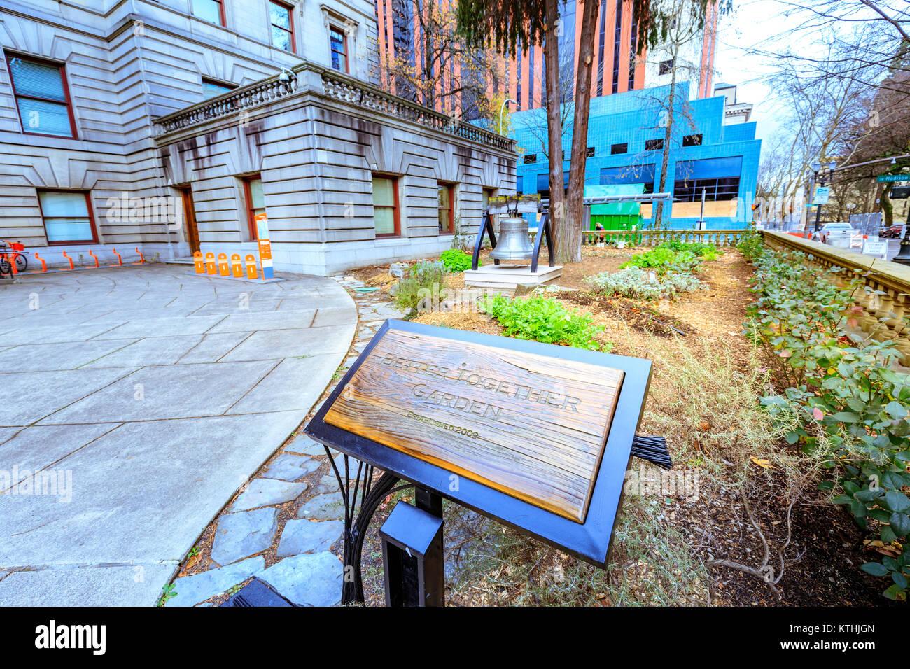 Portland, Oregon, United States - Dec 19, 2017 : Garden sign at Portland city hall Stock Photo