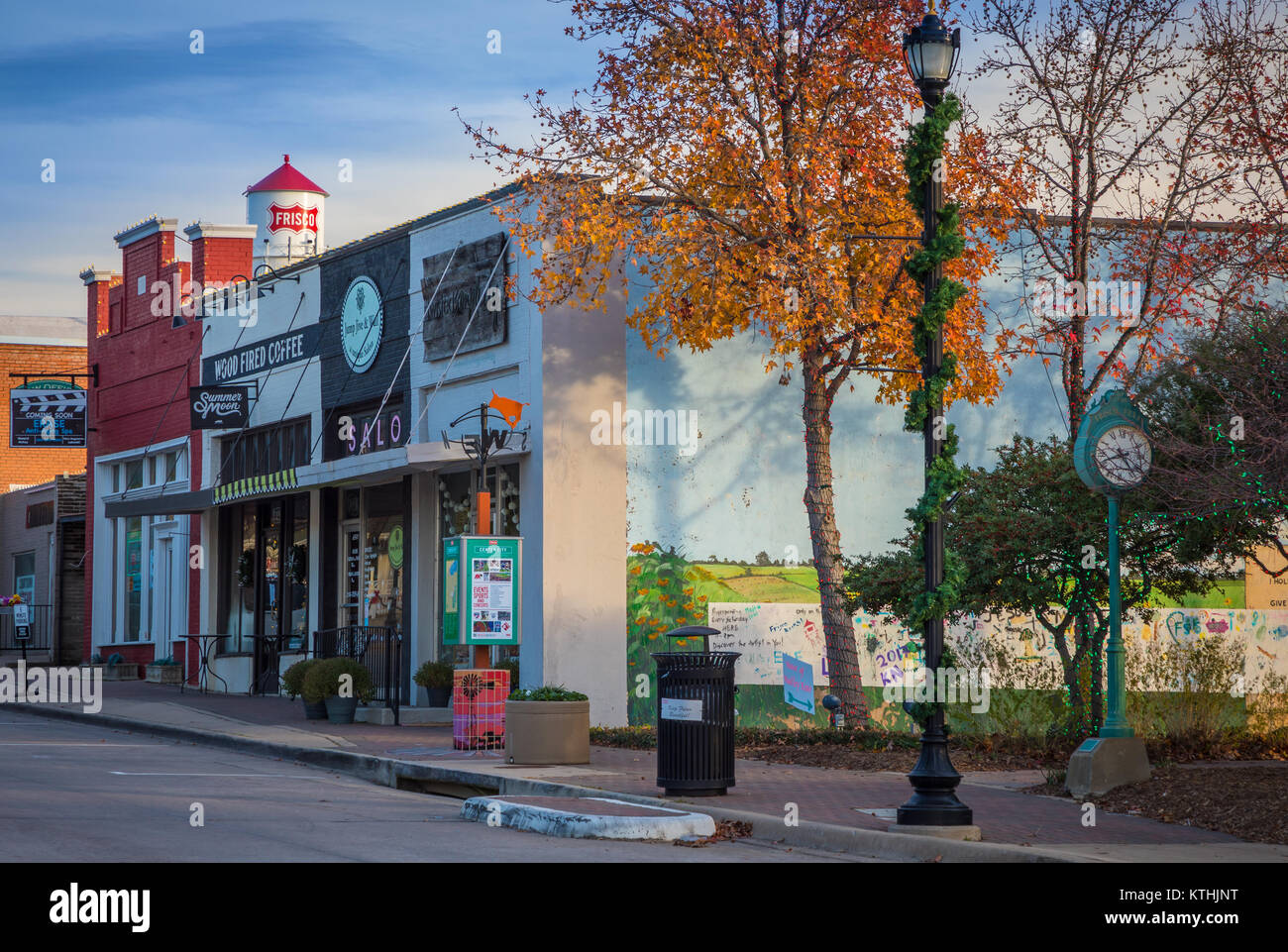 Main Street in Frisco, Texas. Frisco is a city in Collin and Denton counties in Texas, in the Dallas-Fort Worth Stock Photo