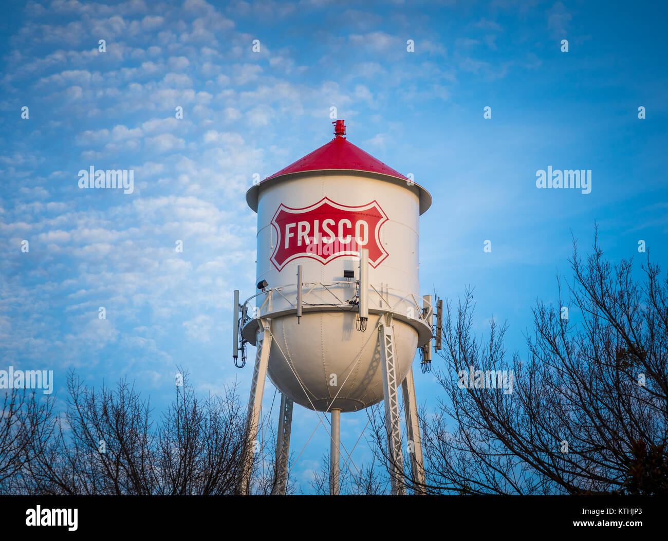 Water tower in Frisco, Texas. Frisco is a city in Collin and Denton counties in Texas, in the Dallas-Fort Worth - Stock Image