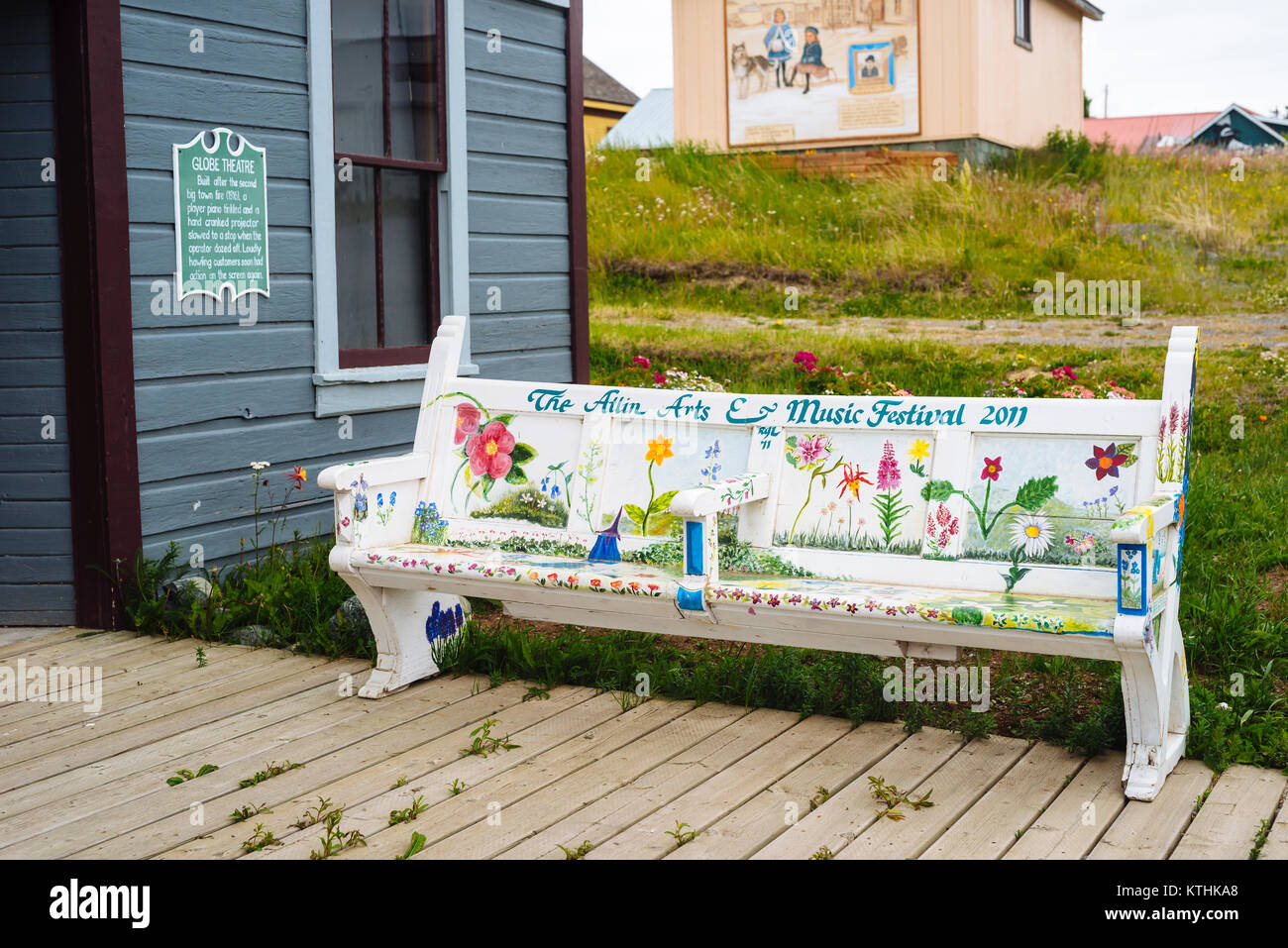 Peachy A Painted Bench In The Small Remote Village Of Atlin In Andrewgaddart Wooden Chair Designs For Living Room Andrewgaddartcom